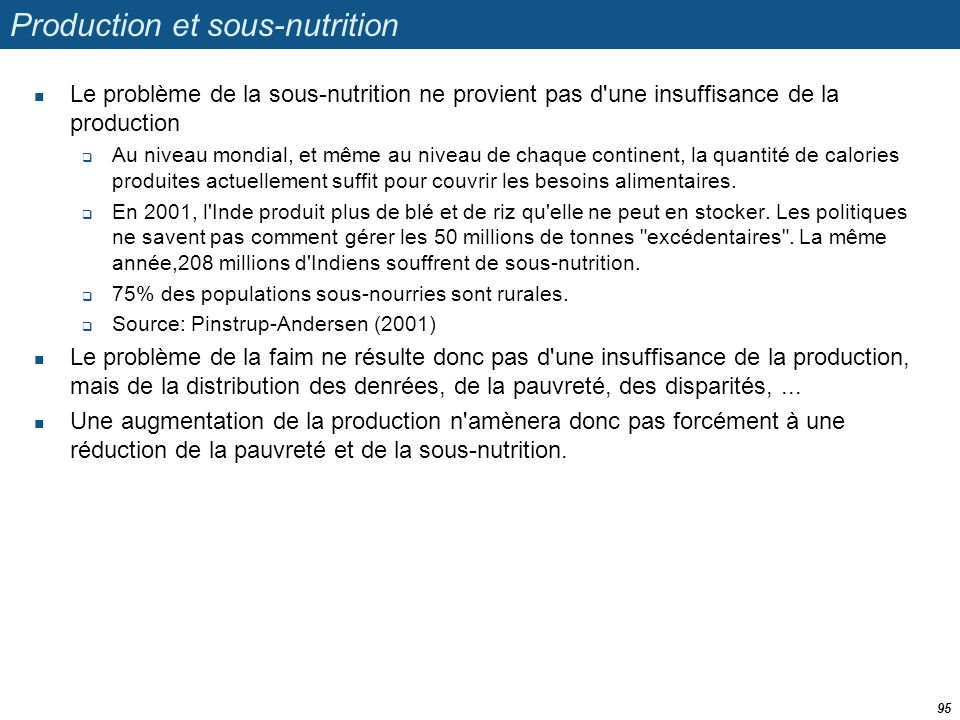 Production et sous-nutrition