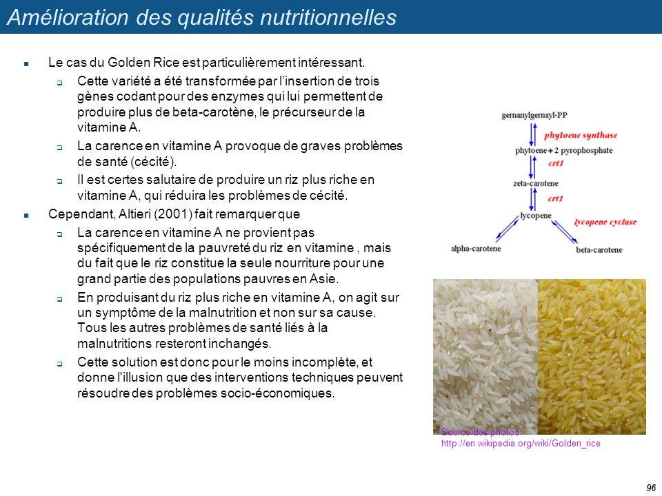 Amélioration des qualités nutritionnelles