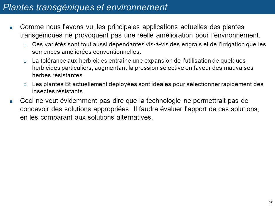 Plantes transgéniques et environnement
