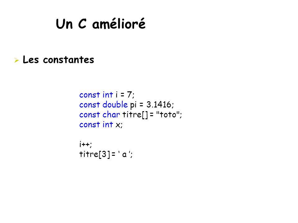 Un C amélioré Les constantes const int i = 7;