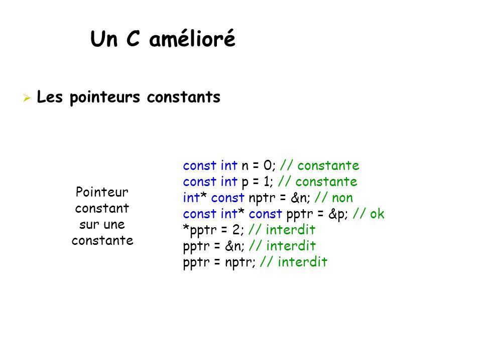 Un C amélioré Les pointeurs constants const int n = 0; // constante
