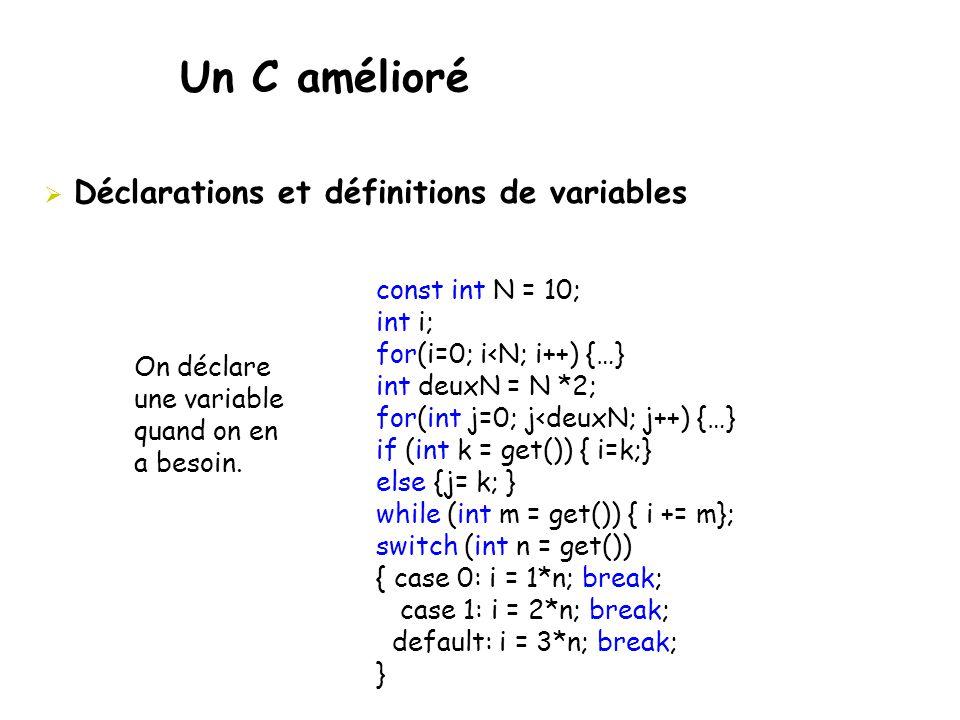 Un C amélioré Déclarations et définitions de variables