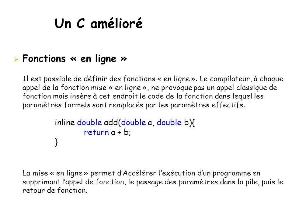 Un C amélioré Fonctions « en ligne »