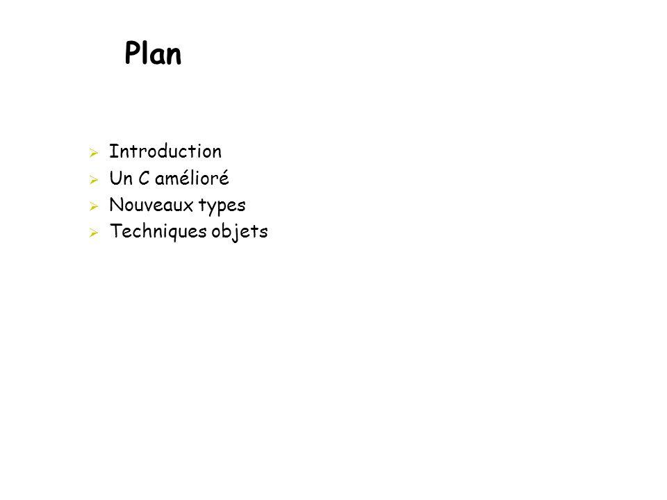 Plan Introduction Un C amélioré Nouveaux types Techniques objets