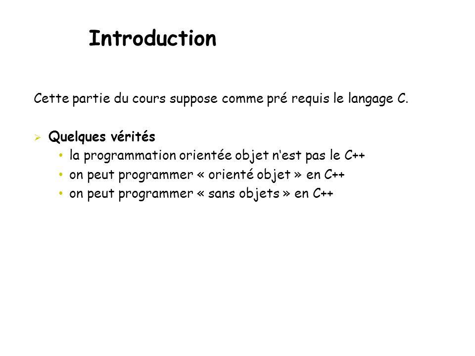 Introduction Cette partie du cours suppose comme pré requis le langage C. Quelques vérités. la programmation orientée objet n'est pas le C++