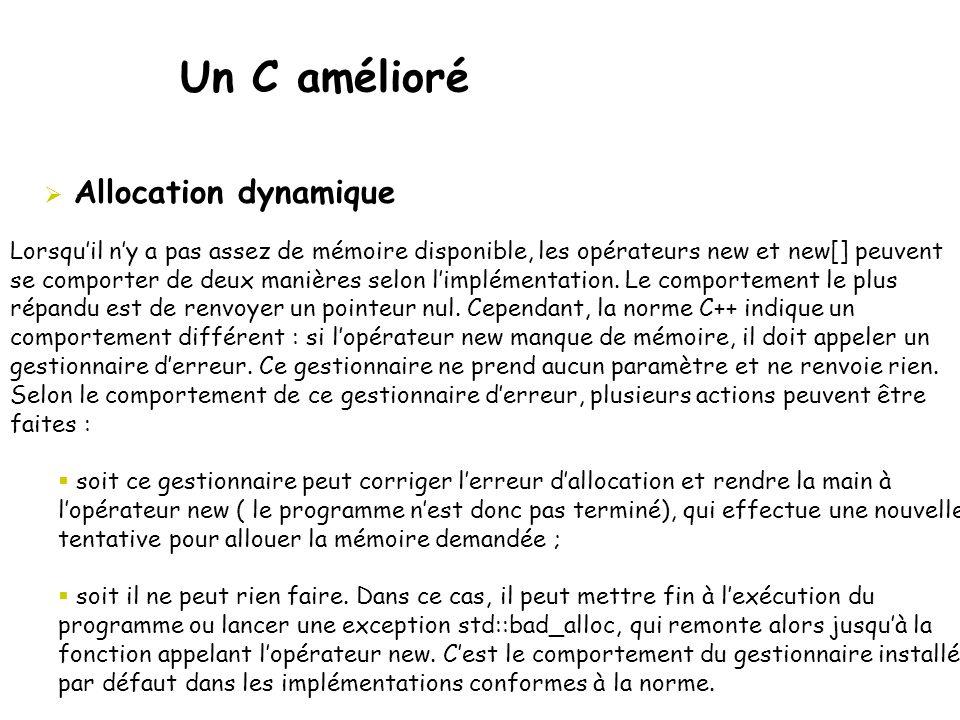 Un C amélioré Allocation dynamique