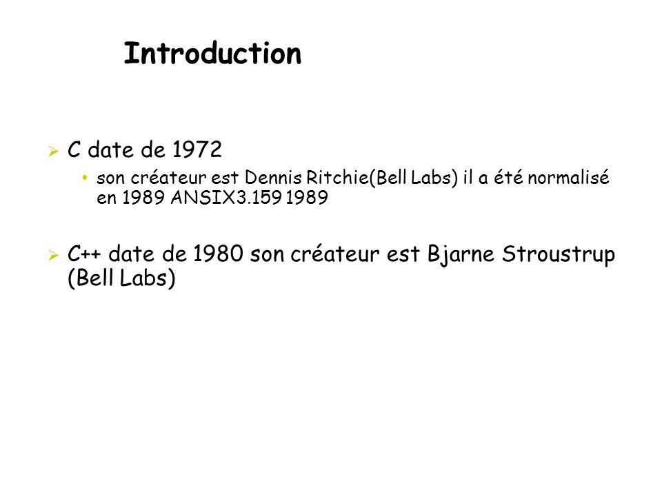 Introduction C date de 1972. son créateur est Dennis Ritchie(Bell Labs) il a été normalisé en 1989 ANSIX3.159 1989.