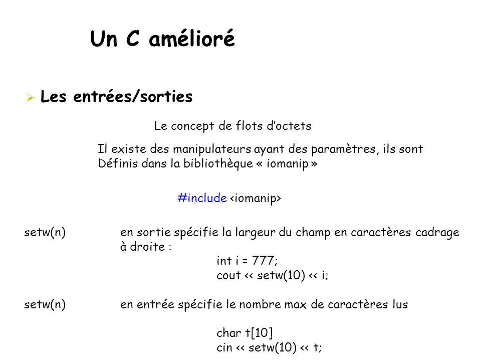 Un C amélioré Les entrées/sorties Le concept de flots d'octets