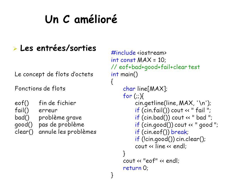 Un C amélioré Les entrées/sorties #include <iostream>