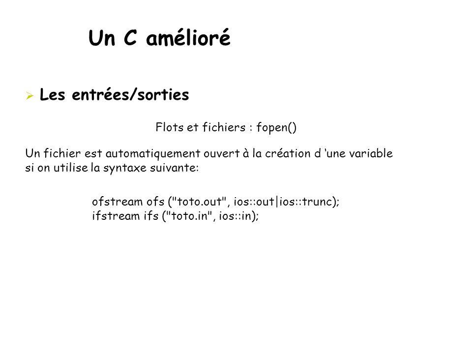 Un C amélioré Les entrées/sorties Flots et fichiers : fopen()