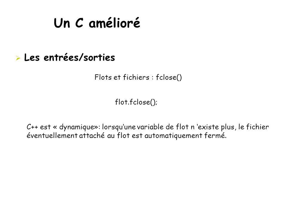 Un C amélioré Les entrées/sorties Flots et fichiers : fclose()