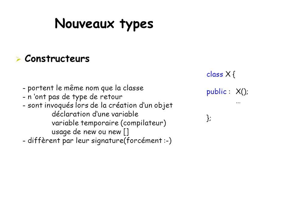 Nouveaux types Constructeurs class X { public : X();