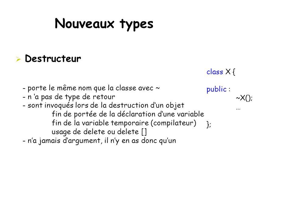 Nouveaux types Destructeur class X { public : ~X();