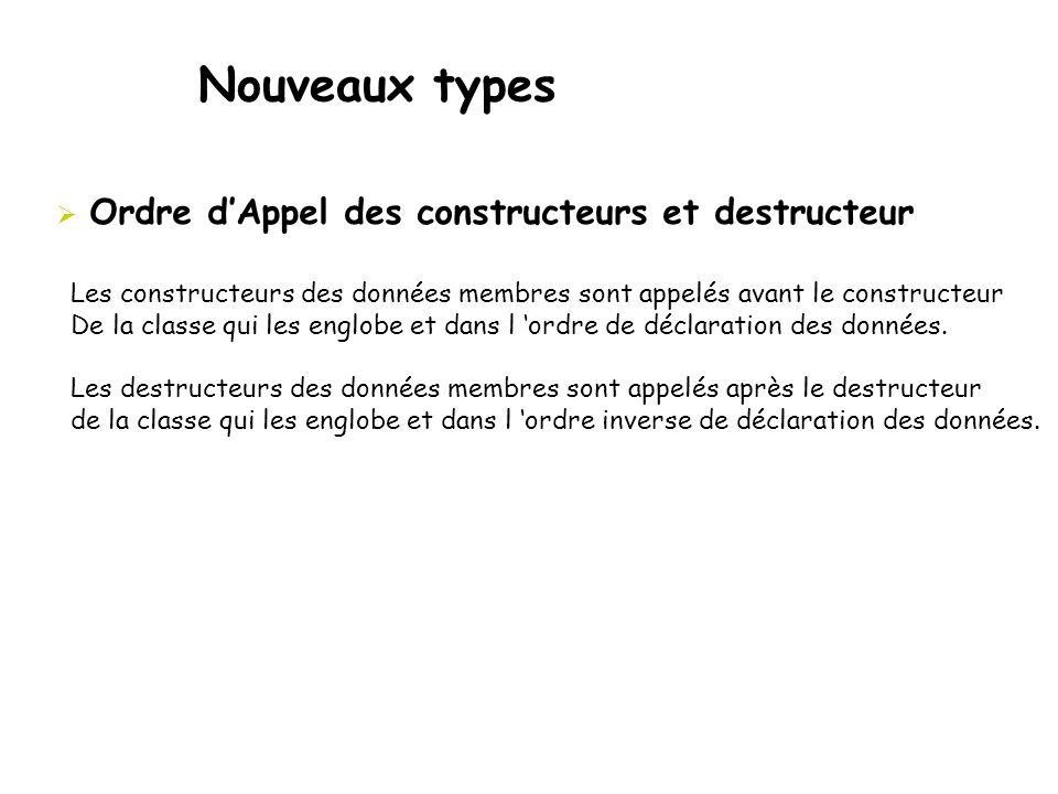 Nouveaux types Ordre d'Appel des constructeurs et destructeur