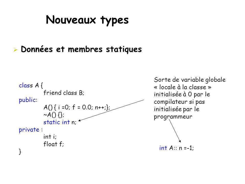 Nouveaux types Données et membres statiques Sorte de variable globale