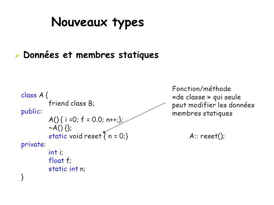 Nouveaux types Données et membres statiques Fonction/méthode