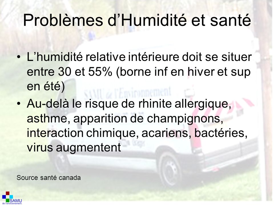 Problèmes d'Humidité et santé