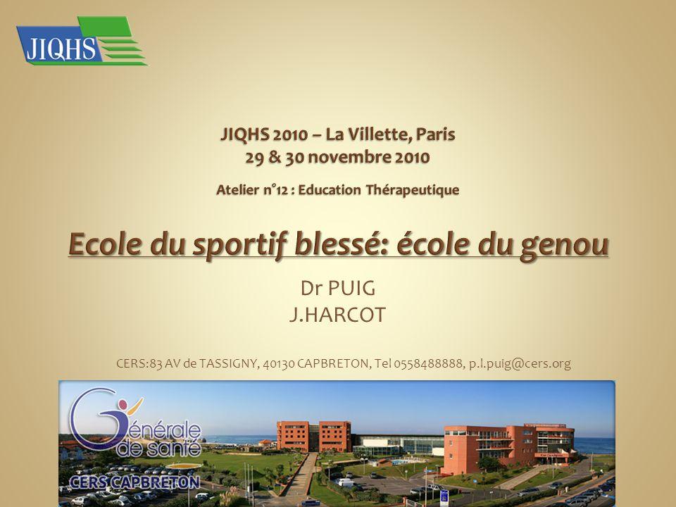 JIQHS 2010 – La Villette, Paris 29 & 30 novembre 2010 Atelier n°12 : Education Thérapeutique Ecole du sportif blessé: école du genou