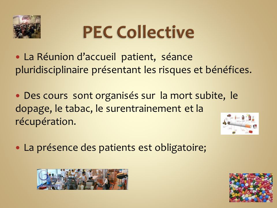 PEC Collective La Réunion d'accueil patient, séance pluridisciplinaire présentant les risques et bénéfices.