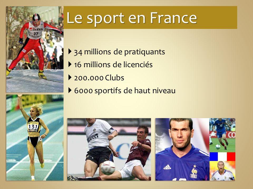 Le sport en France 34 millions de pratiquants 16 millions de licenciés