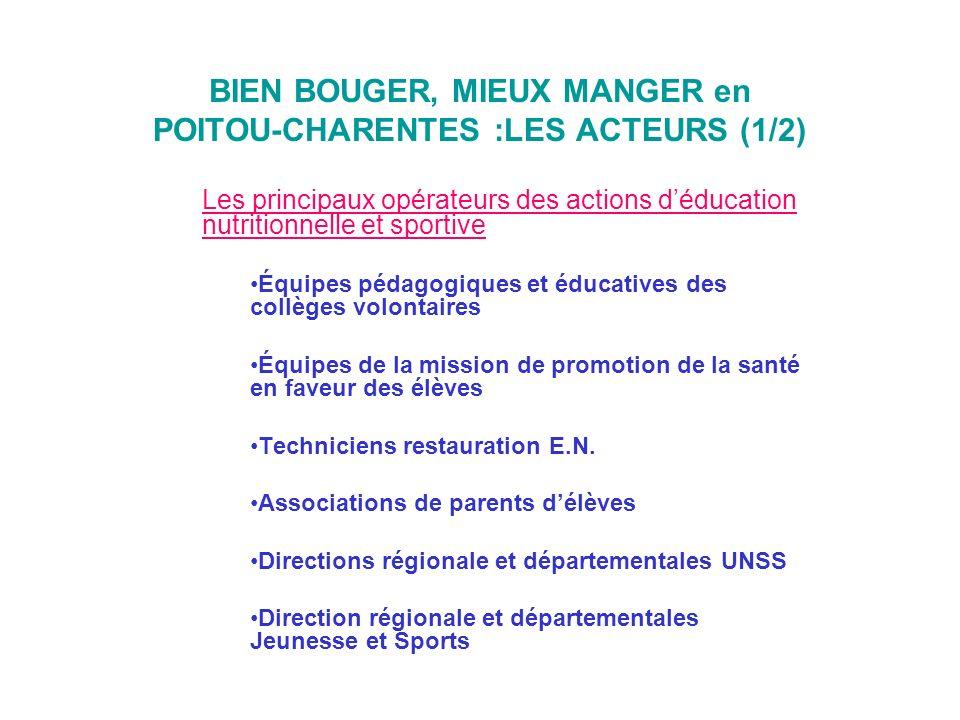 BIEN BOUGER, MIEUX MANGER en POITOU-CHARENTES :LES ACTEURS (1/2)