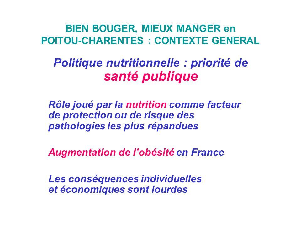 BIEN BOUGER, MIEUX MANGER en POITOU-CHARENTES : CONTEXTE GENERAL