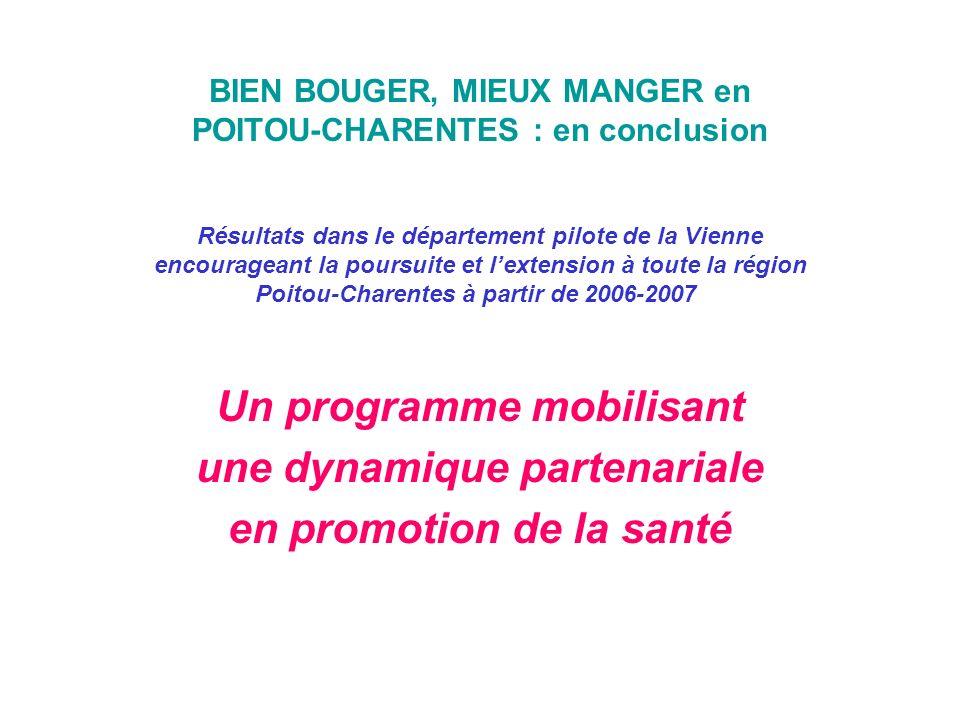 BIEN BOUGER, MIEUX MANGER en POITOU-CHARENTES : en conclusion