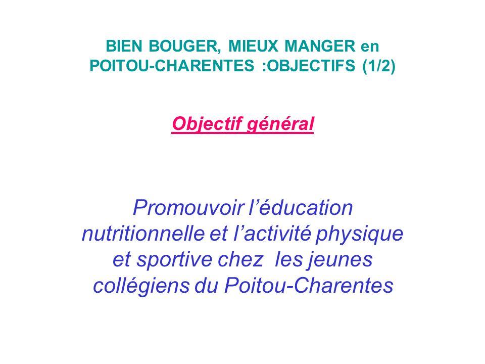 BIEN BOUGER, MIEUX MANGER en POITOU-CHARENTES :OBJECTIFS (1/2)