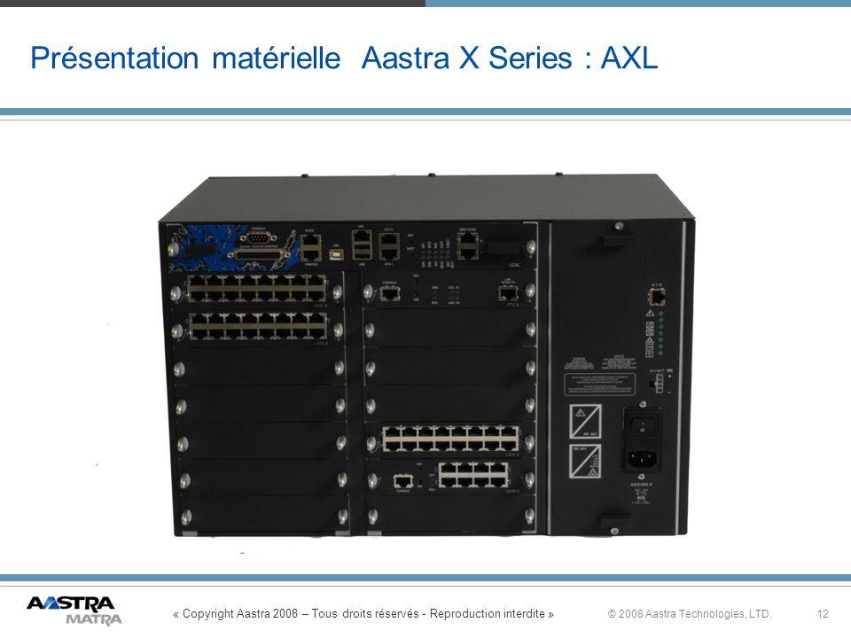 Présentation matérielle Aastra X Series : AXL