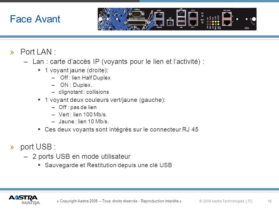 Face Avant Port LAN : port USB :