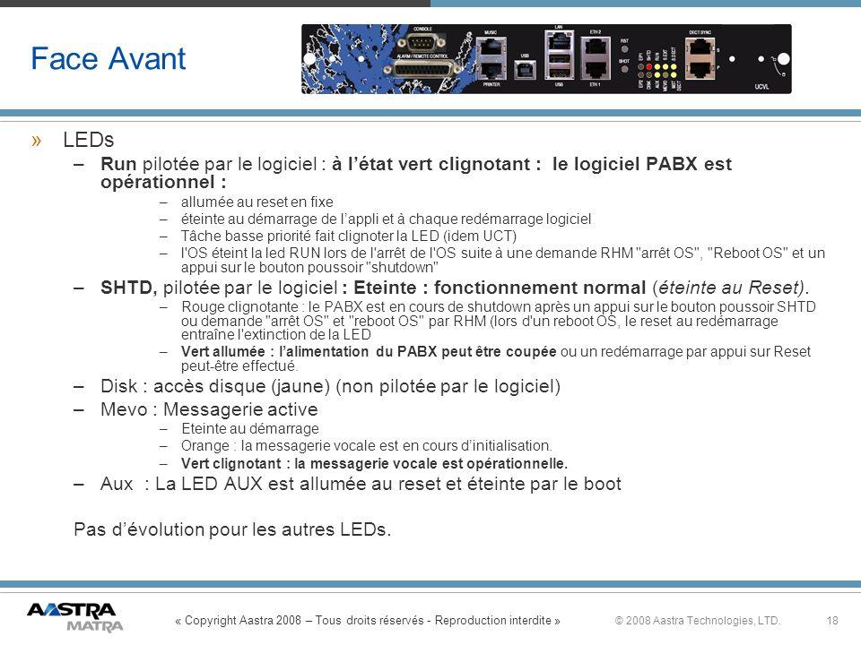 Face Avant LEDs. Run pilotée par le logiciel : à l'état vert clignotant : le logiciel PABX est opérationnel :