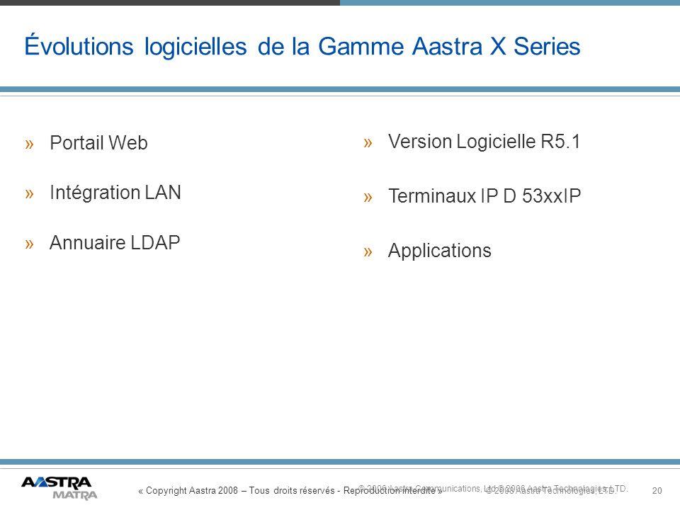 Évolutions logicielles de la Gamme Aastra X Series