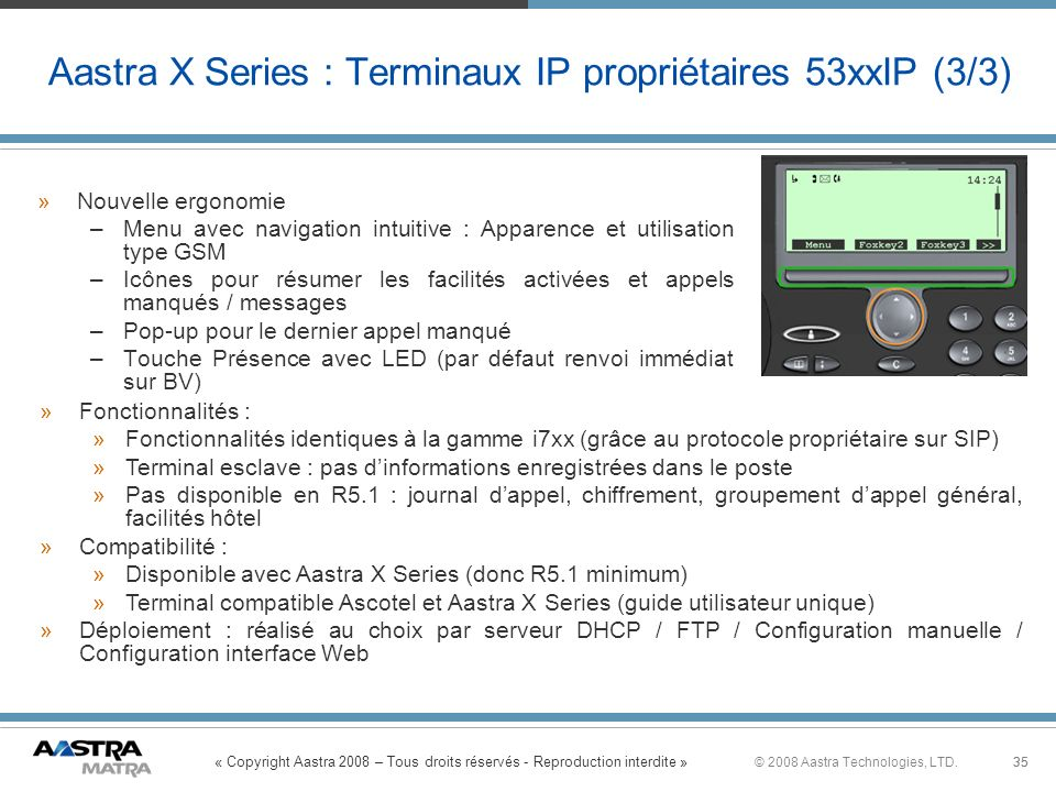 Aastra X Series : Terminaux IP propriétaires 53xxIP (3/3)