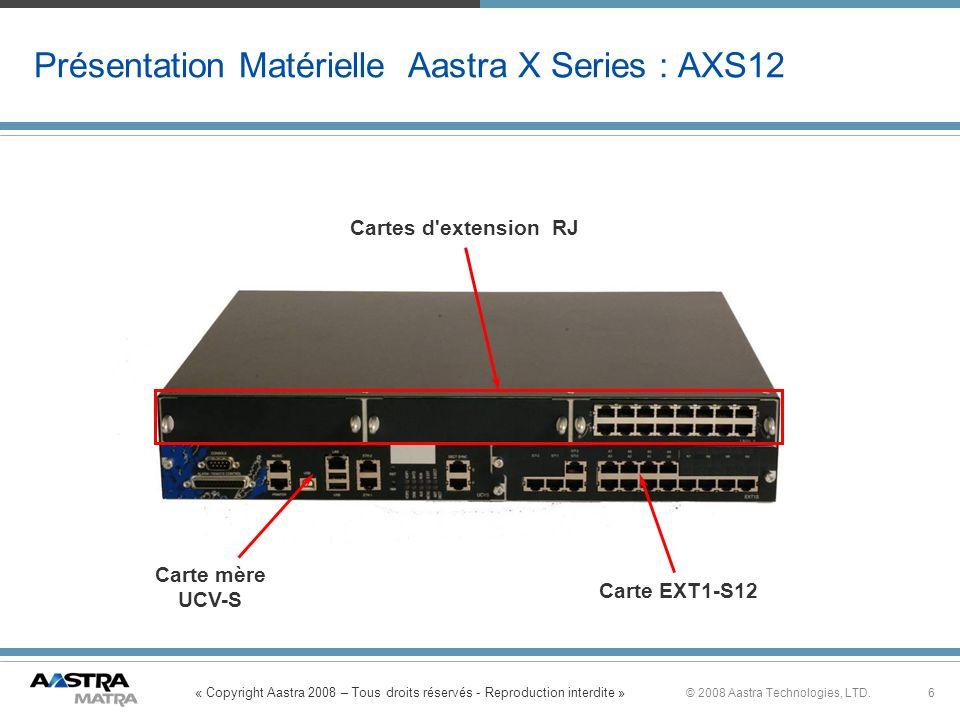 Présentation Matérielle Aastra X Series : AXS12