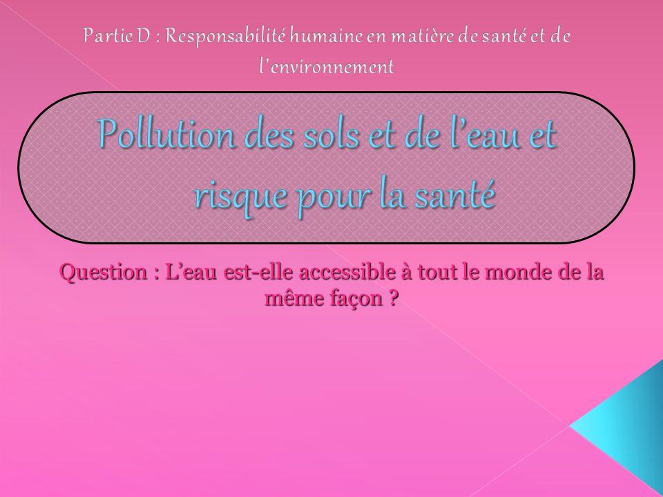 Pollution des sols et de l'eau et risque pour la santé