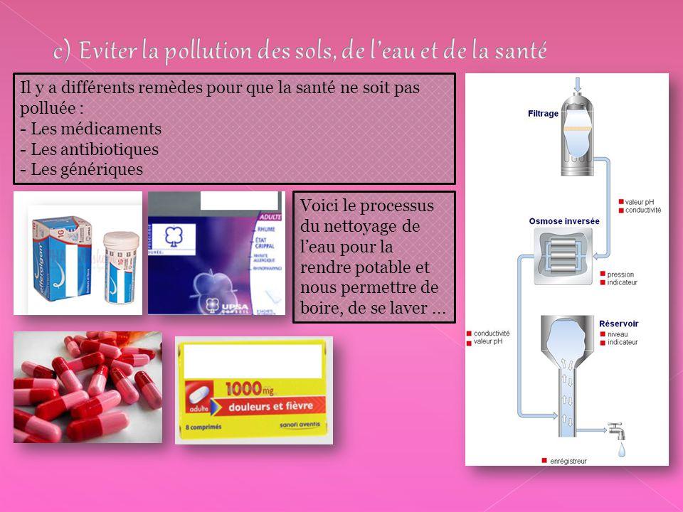 c) Eviter la pollution des sols, de l'eau et de la santé