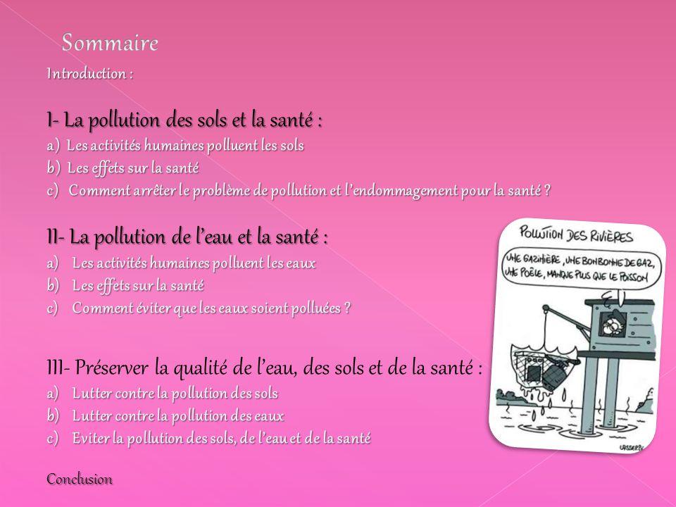 Sommaire I- La pollution des sols et la santé :