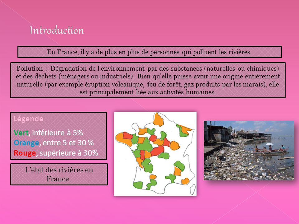 L'état des rivières en France.