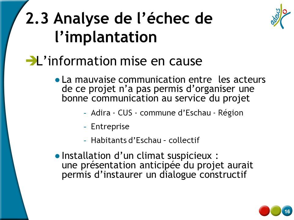 2.3 Analyse de l'échec de l'implantation