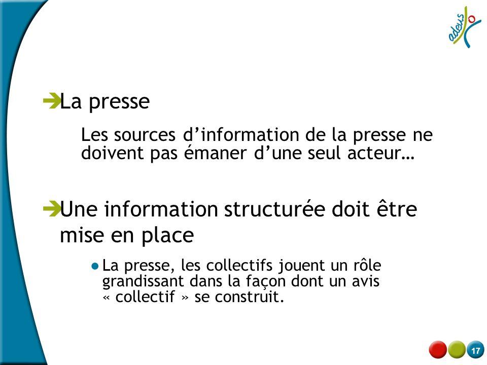 Une information structurée doit être mise en place