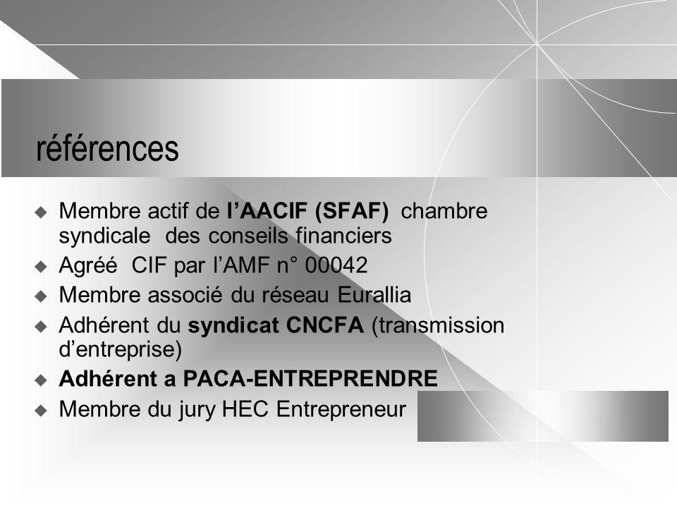 références Membre actif de l'AACIF (SFAF) chambre syndicale des conseils financiers. Agréé CIF par l'AMF n° 00042.