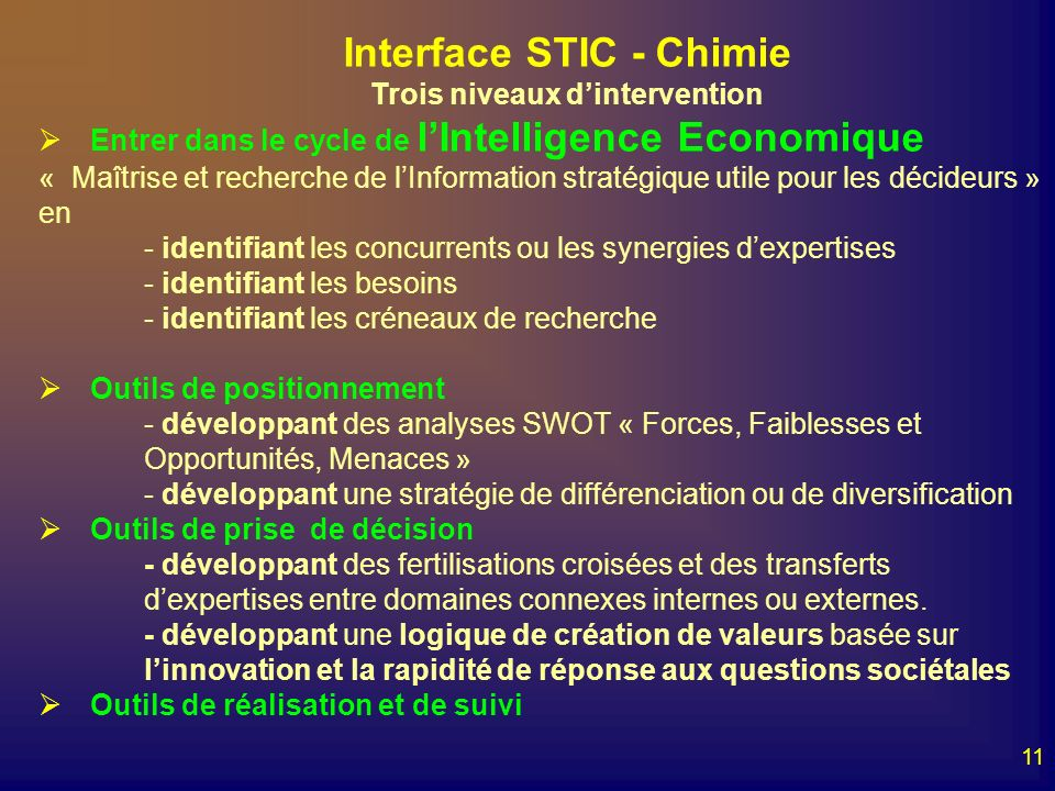 Interface STIC - Chimie