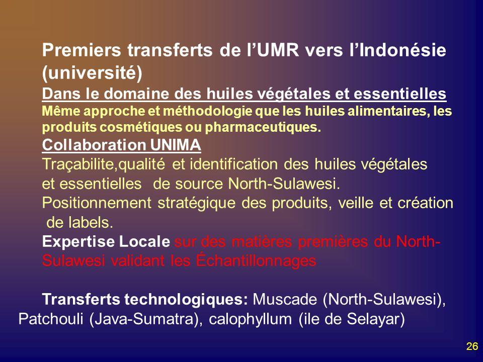Premiers transferts de l'UMR vers l'Indonésie (université)