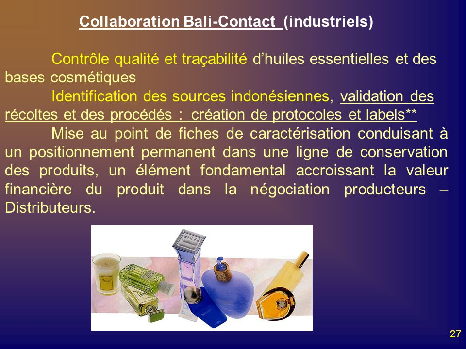 Collaboration Bali-Contact (industriels)