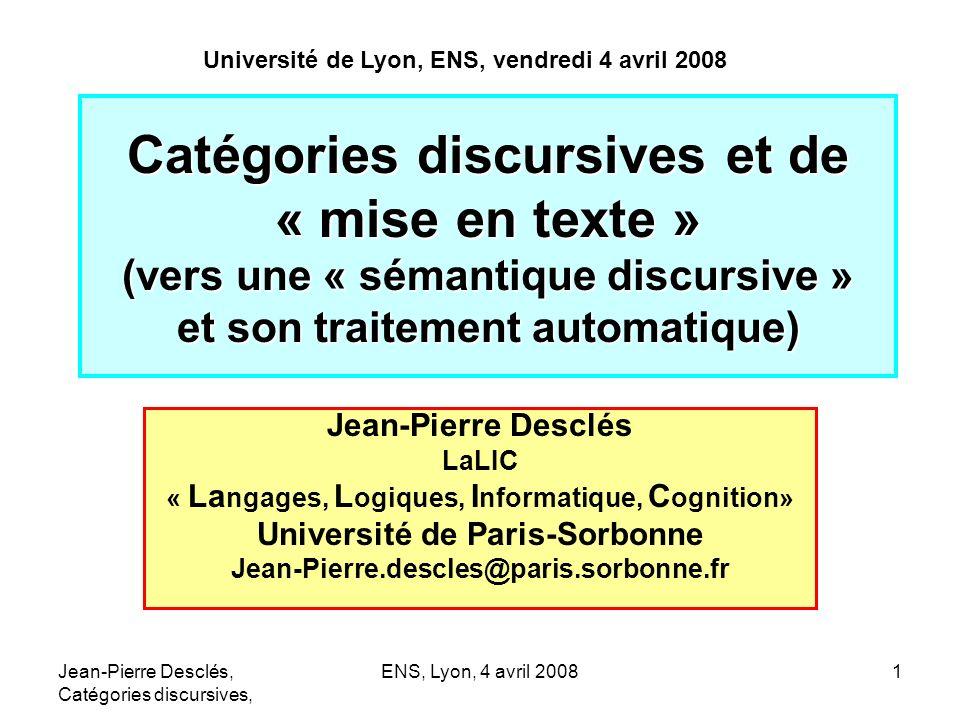 Université de Lyon, ENS, vendredi 4 avril 2008