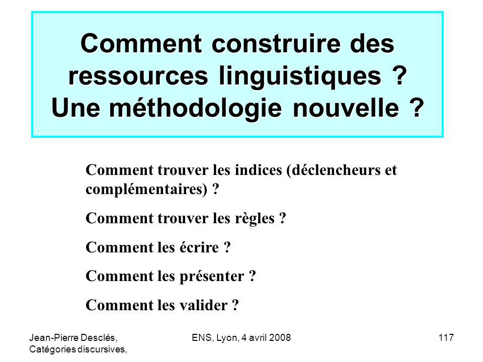 Comment construire des ressources linguistiques