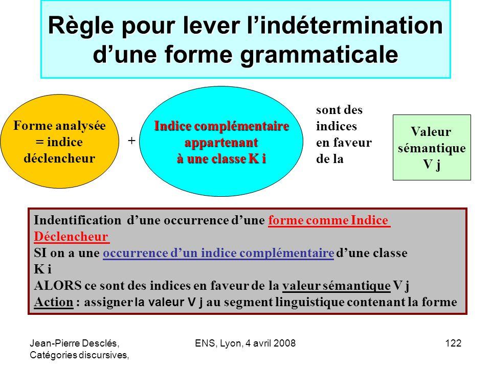Règle pour lever l'indétermination d'une forme grammaticale