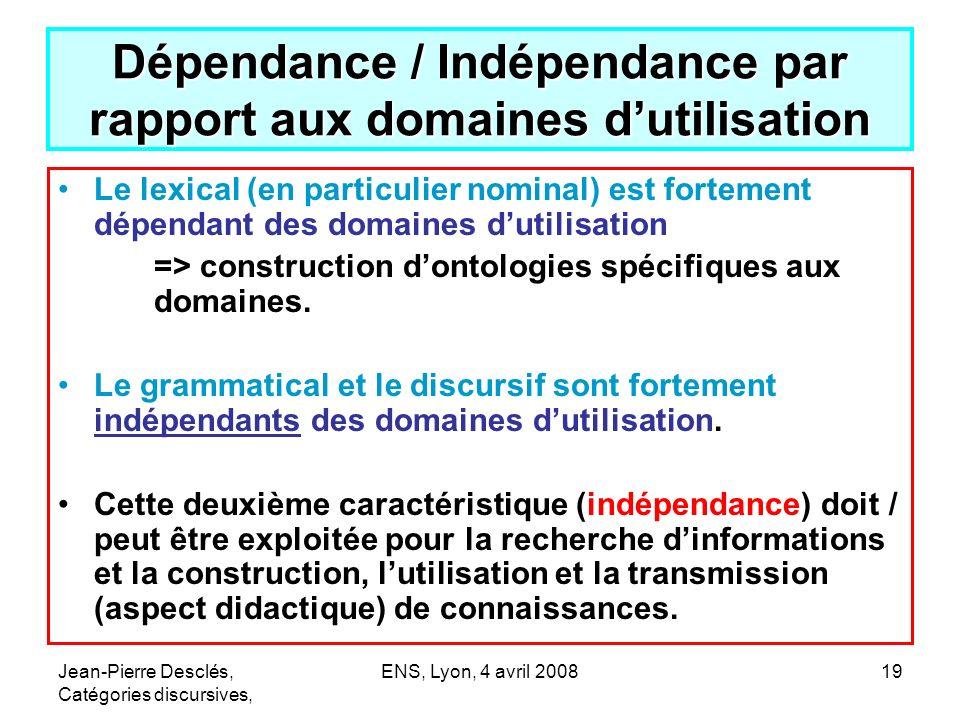 Dépendance / Indépendance par rapport aux domaines d'utilisation