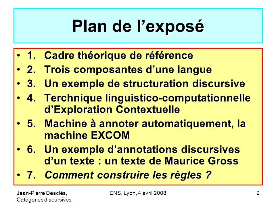Plan de l'exposé 1. Cadre théorique de référence