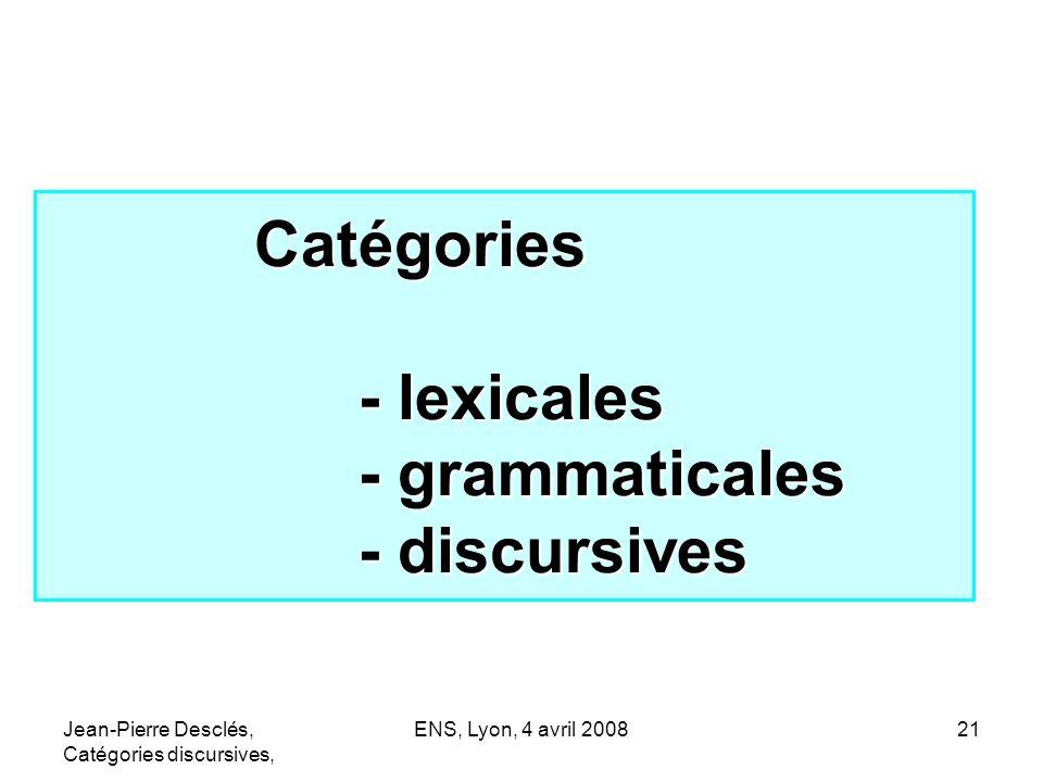 Catégories - lexicales - grammaticales - discursives